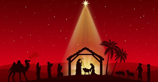 Jesus Nativity in the stable. Figures are in black silhouette against red starry sky, in the desert setting. Figures are made in Inkscape and applied to illustration in Photoshop.
